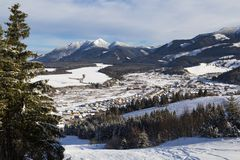 Zuberec滑雪胜地;西Tatras 斯洛伐克 33c 1月横向俄国温度ural冬天 库存照片