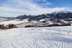 Zuberec滑雪胜地;西Tatras 斯洛伐克 33c 1月横向俄国温度ural冬天 图库摄影