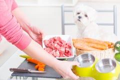 Zubereitung der Naturkost für Haustiere Lizenzfreie Stockfotografie