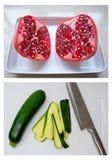 Zubereitung der Zucchini und des Granatapfels lizenzfreies stockfoto