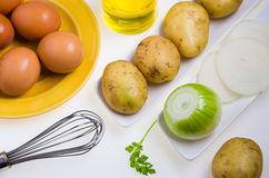 Zubereitung des Omeletts Stockfotografie