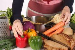 Zubereitung mit Verschiedenartigkeit eine Nahrung lizenzfreies stockfoto