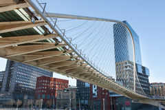 Zubizuri Bridge in Bilbao, Spain Royalty Free Stock Photography