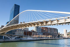 Zubizuri Bridge in Bilbao, Spain Stock Photography