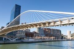 Zubizuri Bridge in Bilbao, Spain Stock Photography
