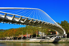 Zubizuri Bridge in Bilbao, Spain Royalty Free Stock Images