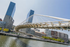 Zubizuri Bridge in Bilbao, Spain Royalty Free Stock Photo