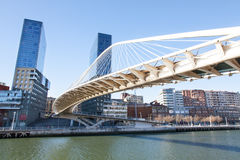 Zubizuri Bridge of Calatrava in Bilbao Royalty Free Stock Photography