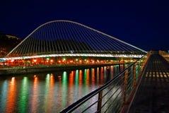 Zubizuri bridge, Euskadi, Spain. Night shot of Zubizuri bridge over Nervion river, Euskadi, Spain Royalty Free Stock Photo