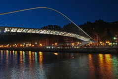 Zubizuri bridge, Euskadi, Spain. Night shot of Zubizuri bridge over Nervion river, Euskadi, Spain Stock Image