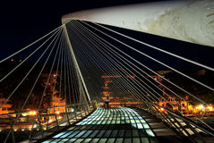 Zubizuri bridge, Euskadi, Spain. Night shot of Zubizuri bridge over Nervion river, Euskadi, Spain Royalty Free Stock Photography