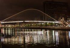Zubizuri bridge by night in Bilbao Royalty Free Stock Images