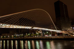 Zubizuri bridge by night in Bilbao Royalty Free Stock Photo
