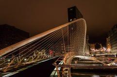 Zubizuri bridge by night in Bilbao Stock Photography