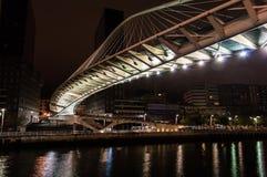 Zubizuri bridge by night in Bilbao Royalty Free Stock Photography