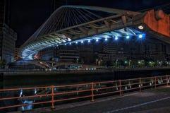 Zubizuri Bridge over Nevion River in Bilbao, Spain stock photo