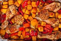Zucca al forno con il pollo Fotografie Stock