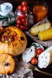 Zucca al forno di Halloween Fotografia Stock