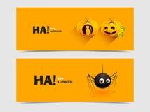 Zucca allegra per Halloween ed il ragno Fotografia Stock