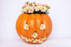 Zucca arancione con chrysant su una priorità bassa bianca Fotografia Stock