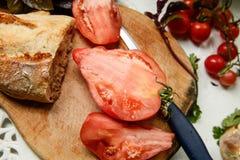 Zucca, basilico fresco e pomodori Fotografia Stock Libera da Diritti