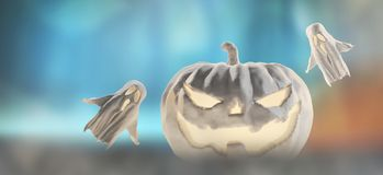 Zucca bianca di Halloween 3d-illustration Halloween con i fantasmi illustrazione di stock