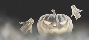 Zucca bianca di Halloween 3d-illustration Halloween con i fantasmi royalty illustrazione gratis