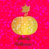 Zucca brillante arancio con i fiocchi di neve sullo splendere progettazione di Halloween Fotografia Stock