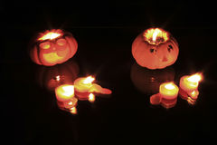 Zucca che decora con le candele Fotografia Stock