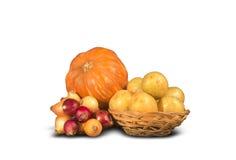 Zucca, cipolle e patate mature Fotografie Stock Libere da Diritti