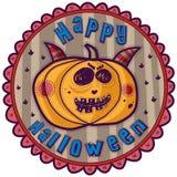 Zucca con i corni, Halloween felice Fotografia Stock