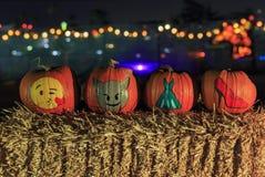 Zucca con luce alla notte Fotografie Stock
