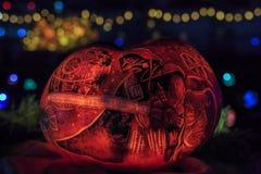 Zucca con luce alla notte Fotografia Stock
