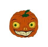 Zucca con un carattere sorridente del fronte per Halloween, tiraggio digitale, isolato su terra bianca Fotografia Stock