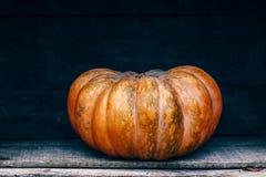 Zucca Curvy dell'azienda agricola di giallo arancio di forma in scatole di legno sullo scaffale del mercato Fotografia Stock