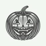 Zucca d'annata di Halloween nel retro stile Arte grafica monocromatica Fotografie Stock Libere da Diritti