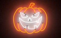 Zucca d'ardore di Halloween della luce al neon rappresentazione 3d immagine stock