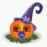 Zucca del bambino di Halloween con il capezzolo Immagini Stock
