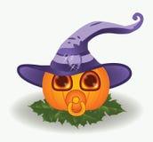 Zucca del bambino di Halloween con la tettarella Fotografia Stock