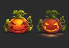 Zucca del fumetto di Halloween e luci della zucca su fondo scuro Fotografie Stock