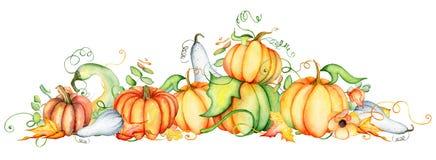 Zucca dell'acquerello e foglie di autunno Composizione nel raccolto Giorno felice di ringraziamento Illustrazione disegnata a man Fotografie Stock