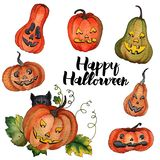 Zucca dell'acquerello per il vettore di Halloween illustrazione di stock