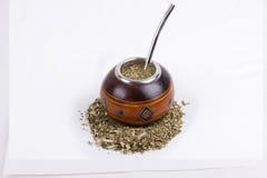 Zucca dell'erba mate e bombilla & x28; tazza e straw& x29; fotografia stock