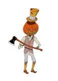 Zucca dell'uomo di Halloween con uno scure nel tiraggio stile country e digitale, isolato su terra bianca Fotografia Stock