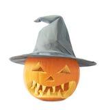 zucca delle Jack-o'-lanterne in un cappello Immagine Stock Libera da Diritti
