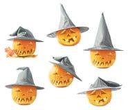 zucca delle Jack-o'-lanterne in un cappello Fotografia Stock