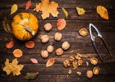 Zucca di autunno, noccioli della noce, intere noci e schiaccianoci sopra Immagini Stock Libere da Diritti