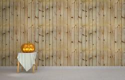 Zucca di Halloween con fondo di legno Immagine Stock Libera da Diritti