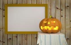 Zucca di Halloween con fondo di legno Immagine Stock