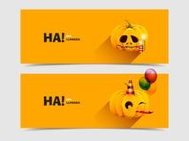 Zucca di Halloween con i palloni e le candele Immagini Stock Libere da Diritti